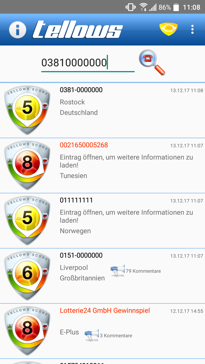 Android tellows App Einstellungen