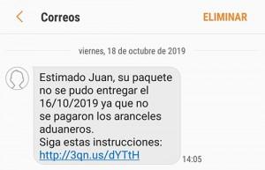 fraude sms correos